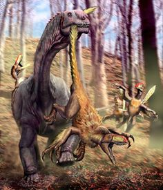 Astrodon johnstoni and Utahraptor ostrommaysorum by Luis Rey