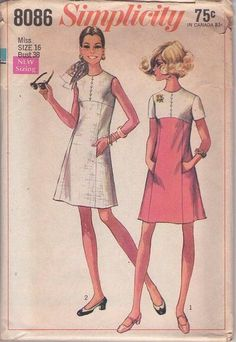 Simplicity 8086 Vintage 60's Sewing Pattern