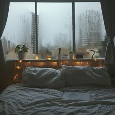 Rainy days...I would stay in that bed forever and ever