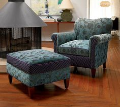"""""""Molly Rose Chair in Aqua""""  Upholstered Chair    Created by Mary Lynn O'Shea"""