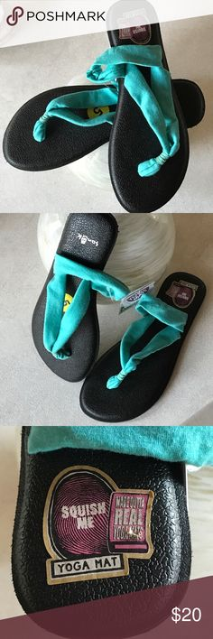 Original Sanuk Yoga Triangle Sandal. Turquoise A super cushy footbed made from recycled yoga mats make this thong sandal extra comfortable and the stretch knit jersey straps are a treat for your feet. Just toss them in the washing machine when they get dirty.  NWT Sanuk Shoes Sandals