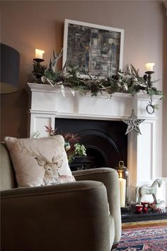 Farrow & Ball Inspiration -Dead Salmon - 28 Modern Emulsion on the wall with All White - 2005 Estate Eggshell on the woodwork. Decor, Room, Farrow And Ball Living Room, Living Room Color, Christmas Fireplace Decor, Snug Room, Wall Colors, Home Decor, Farrow Ball