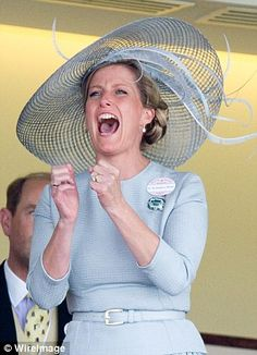Sophie, Countess of Wessex appeared delighted as the runners in one race crossed the finish line.