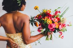 colorful Bohemian beach wedding // flowers by Victory Blooms \\ photo by Michelle Scott Photography