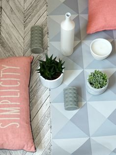 Summer daze moodboard with pastel accents, geometric wallpapers and potted succulents