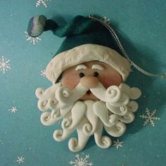 Items similar to Old World Santa Christmas Ornament Handcrafted Polymer Clay Milestone Claus Head Holly Berry Winter Wonderland Merry Curly Beard St Nick on Etsy Polymer Clay Ornaments, Polymer Clay Projects, Polymer Clay Creations, Dough Ornaments, Fimo Clay, Clay Beads, Paper Clay, Clay Art, Polymer Clay Christmas