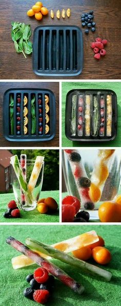 Summer Ice Cubes - DIY with fruits. This would be a smart idea for fruit infused water