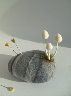Felt Pincushion  Needle Felted Stone  Mushrooms  Toadstools