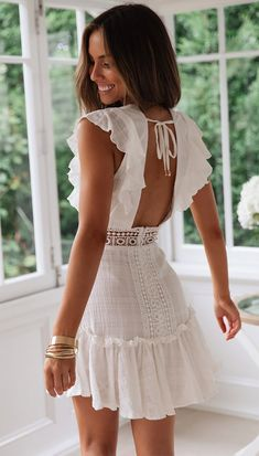 Stunning Peoples Market White Cotton Summer Mini Dress