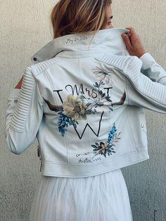 Cream Leather Jacket, Painted Leather Jacket, Leather Jeans, Custom Leather Jackets, Zara, Wedding Jacket, Double Trouble, Brides And Bridesmaids, White Denim