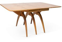 """Wishbone Table on OneKingsLane.com, """"Heywood Wakefield Double Wishbone drop leaf table. It is the """"Butterfly Design"""" which was a part of the Heywood-Wakefield """"Modern Line"""" Tables of the 1950s. Imprinted Haywood Wakefield, and stamped Wheat M1557G. This is model M786G - produced between 1952 and 1955..."""