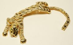 Vtg Runway Gold Jaguar Enamel Crystal Shoulder Pin Brooch | eBay