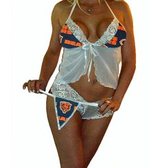 f1b70d001d9 NFL+Lingerie+Chicago+Bears+Sexy+White+Cami+Top+