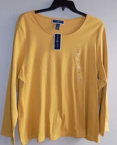 NEW womens plus size 2X top long sleeve mustard/saffron gold Karen Scott #KarenScott #Blouse