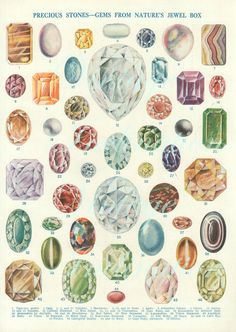 Vintage Print 1920 Antique Precious Stones Gems From Nature's Jewel Box Chart vintage 46 crystals diamonds minerals precious gem stones Jewellery Sketches, Jewelry Drawing, Cute Jewelry, Vintage Jewelry, Jewelry Stand, Victorian Jewelry, Simple Jewelry, Copper Jewelry, Antique Jewelry