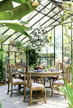 conservatory with chandelier