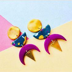 Funky Geometric Polymer Clay Earrings. Funky Statement Earrings. Memphis earrings. Confetti earrings. Colourful 80s earrings. Gold Purple Brass Earrings.