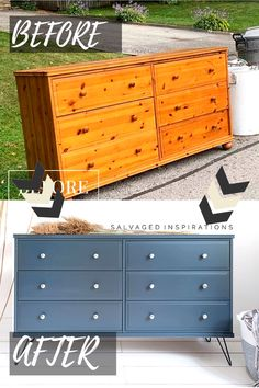 Before and After Ikea Dresser Makeover. Painted in Dixie Belle Paint and added hair pin legs! #siblog #salvagedinspirations #dixiebellepaint #ikeamakeover #paintedfurniture #furniturepaintingtutorials #diyfurniture #ikeadresser #painteddresser Diy Furniture Renovation, Diy Furniture Projects, Refurbished Furniture, Repurposed Furniture, Home Decor Furniture, Painted Furniture, Retro Furniture Makeover, Flip Furniture, Ikea Dresser Makeover