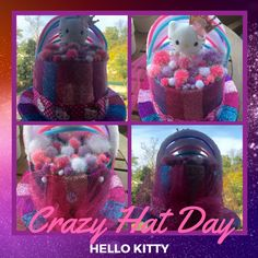 Crazy Hat Day at School Crazy Hat Day, Crazy Hats, Hello Kitty, Hat Crafts, Future, School, Projects, Log Projects, Future Tense