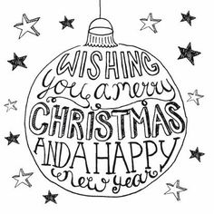 Wishing you a merry Christmas and a happy new year Christmas Doodles, Christmas Drawing, Christmas Time, Christmas Crafts, Doodle Lettering, Brush Lettering, Typography, Xmas Cards, Diy Cards
