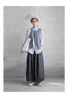 【送料無料】Joie de Vivreリネン中白染めデニム織りギャザーバルーンパンツ