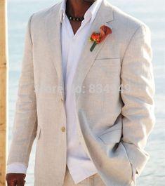 Light Beige Linen Suits  Beach Wedding Tuxedos For Men Custom Made Linen Suit Tailor Made Groom Suit Cool Men's Linen Tuxedo