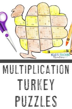 These MULTIPLICATION turkey math activities for kids are great for 3rd, 4th, Multiplication Activities, Measurement Activities, Math Activities For Kids, Math Math, Thanksgiving Math Worksheets, Fifth Grade Math, 4th Grade Classroom, Math Projects, Early Finishers