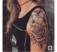 tattoos 21 Rose Shoulder Tattoo Ideas for Women Shoulder Sleeve Tattoos, Half Sleeve Tattoos For Guys, Half Sleeve Flower Tattoo, Shoulder Tattoos For Women Sleeve, Flower Arm Tattoos, Flower Tattoos On Shoulder, Arm Tattoos For Women Upper, Half Sleeve Women, Half Sleeves