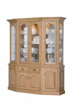 DutchCrafters Canted Hutch and Buffet is handcrafted for each customer using quality construction techniques and solid hardwoods. Quarter Sawn White Oak, White Oak Wood, Hickory Wood, Amish Furniture, Amish Country, Crackle Glass, French Country House, Beveled Glass, Front Design