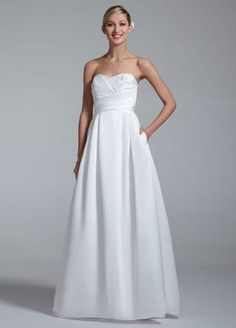 Sweetheart Strapless Gown with Pleated Detail - David's Bridal - mobile