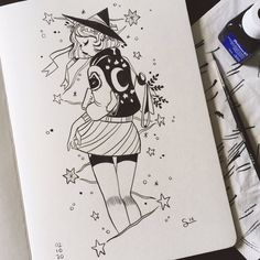 Free for personal use Cute Witch Drawing of your choice Pretty Art, Cute Art, Art Sketches, Art Drawings, Character Art, Character Design, Witch Drawing, Under Your Spell, Drawn Art
