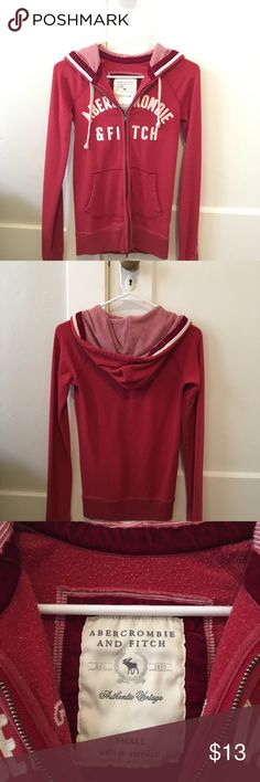 Red Abercrombie & Fitch Hooded Jacket Red Abercrombie & Fitch Hooded Jacket, Size Small. Like new, worn maybe 5 or 6 times. Was originally $79, but I'm reselling for $11. Lovely polycotton blend, very cozy. Abercrombie & Fitch Jackets & Coats