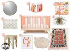 Grapefruit {a girl nursery design board}. modern pink crib, gold round mirror, LOVE art print
