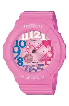 Look at the cute little pink heart on this Baby-G watch!
