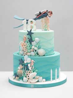 Diver Birthday Cake Under the Sea - - Diver Birthday Cake Under the Sea Cake Decorating Taucher Geburtstagstorte unter dem Meer # Tauchkuchen Ocean Birthday Cakes, Ocean Cakes, 18th Birthday Cake, Beach Cakes, Cake Icing, Cupcake Cakes, Scuba Cake, Turquoise Cake, Novelty Cakes