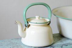 Vintage enamelware tea kettle