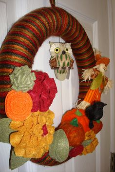 Adorable Fall Yarn Wreath $53.00
