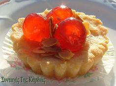 ΣΥΝΤΑΓΕΣ ΤΗΣ ΚΑΡΔΙΑΣ: Πτι φουρ κεράσι Cheesecake Tarts, Cheesecakes, Cherry, Pudding, Desserts, Recipes, Greek, Food, Tailgate Desserts
