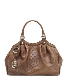 Sukey Small Guccissima Leather Tote Bag, Acero Medium Brown by Gucci at Neiman Marcus.