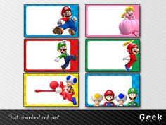 Mario Bros labels - INSTANT DOWNLOAD - Printable - Mario - Luigi - Princess Peach - Toad - Yoshi
