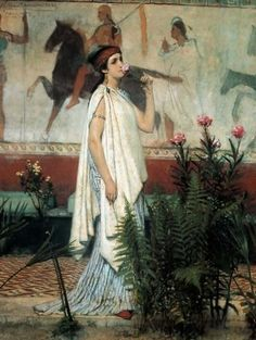 "Admete (pronounced ad-MEET-ee) is the Greek Goddess of Unmarried Women. She is one of the Okeanides, the 3000 daughters of Tethys and Okeanos, Goddess and God of the Oceans. Admete was one of the Okeanides who were attending Persephone when she was abducted by Hades. Her name means ""unwedded."" Illustration: Sir Lawrence Alma-Tadema- A Greek Woman 1869"