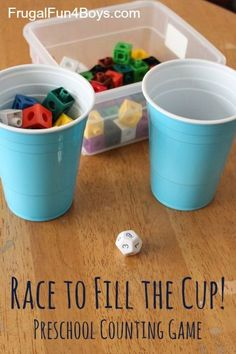 Race to Fill the Cup! Counting Game How to Play: To play this game, you need objects for counting (we used math linking cubes), a cup for each player (pick the size based on age and ability), and a die. We used a math die with the numbers 1-12 on it. (for younger learner use 1-6 die) Each player rolls the die and then adds that many cubes to their cup. The first one to fill the cup wins!