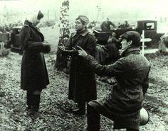 Andrei Tarkovsky, Andrei Konchalovsky and Valentina Malyavina on the set of Ivan's Childhood (1962).