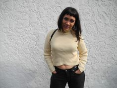 Pale Yellow A-Symmetrical Cropped Turtleneck Old Sweater, Crop Top Sweater, Sweaters, Turtleneck, Wool Blend, Custom Made, Knitwear, Crop Tops, Yellow
