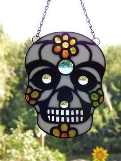 Stained Glass Day of The Dead Sugar Skull by RedfordGlassStudio