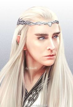 "Thranduil was played by actor Lee Pace in three of the ""Hobbit"" films. This is an excellent rendering by Xiao Xi The Hobbit Thranduil, Lee Pace Thranduil, Gandalf, Hobbit Art, O Hobbit, Hobbit Films, Tauriel, Orlando Bloom Legolas, Elf King"