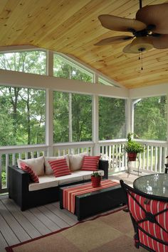 A tongue & groove knotty pine ceiling adds a natural element to the outdoor space. Porch Interior, Interior And Exterior, Interior Ideas, Sunroom Decorating, Sunroom Ideas, Porch Ideas, All Season Porch, Small Sunroom, Tongue And Groove Ceiling