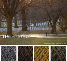 Arlington National Cemetery color palette in honor of Veterans day using Harrisville Designs Watershed yarn: Granite, Elm, Eastview, and Spoonwood.