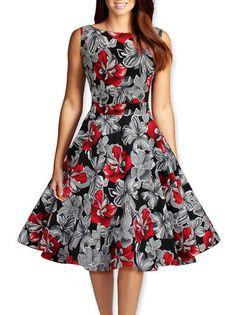 O-Neck Flower Printed Big Swing High Waist Women Summer Dress on buytrends.com