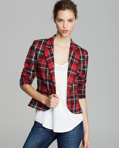 I had a blouse like this, in a bright lumberjack plaid;  It was flannel, with elbow length puffed sleeves and I never thought of using it as sort of a bolaro sp? jacket - cute Aqua Blazer - Plaid | Bloomingdale's